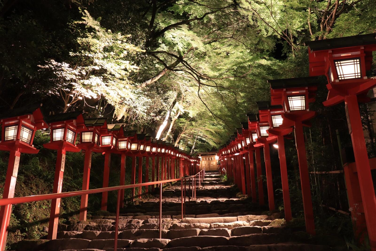 新緑の貴船神社ライトアップ
