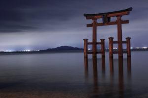 極寒の白鬚神社(夜)