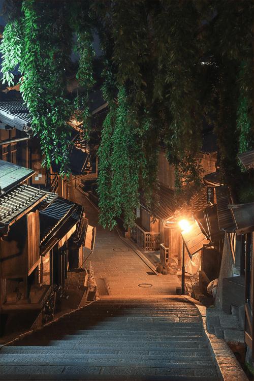 夜の産寧坂(新緑)