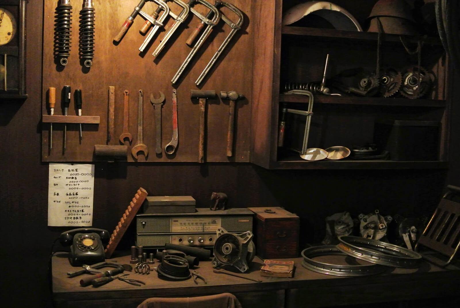 レトロな工具と作業場