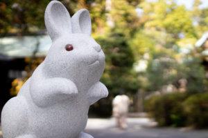岡崎神社の狛うさぎ(吽形-雌)