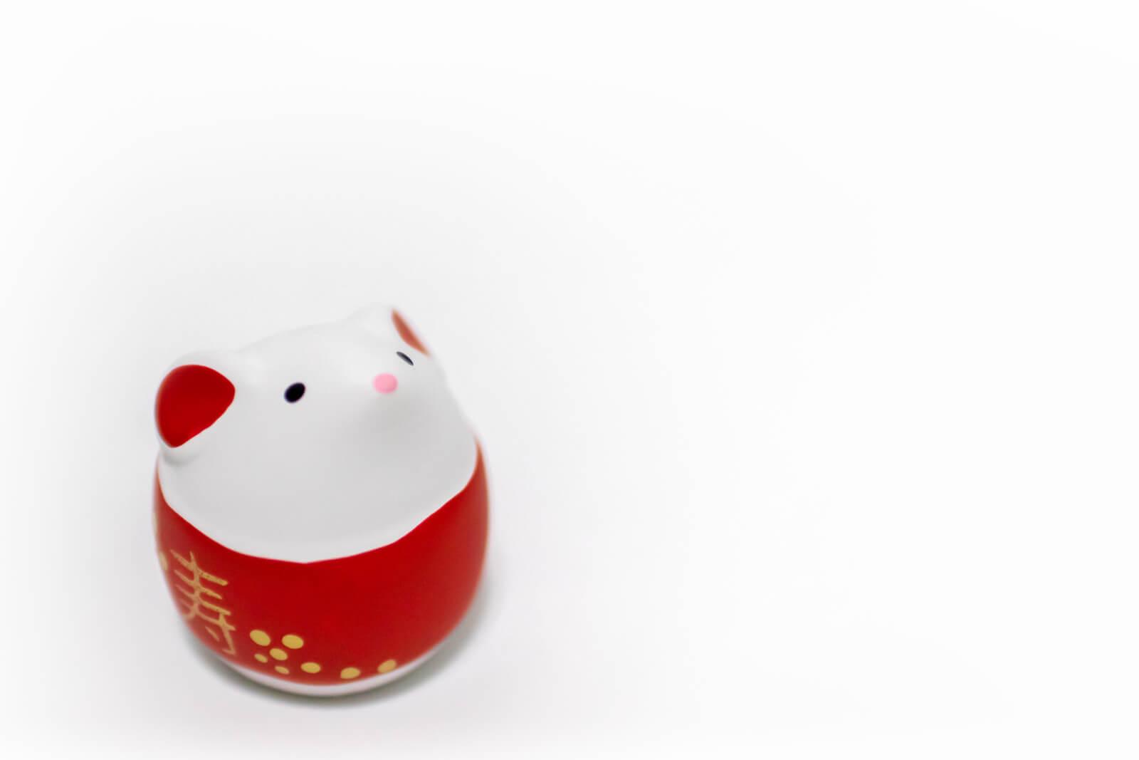 干支の白いネズミに金の「寿」