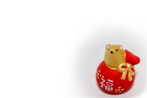金のネズミと赤い福袋(干支の小物)