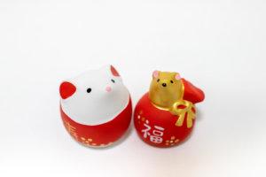 白いネズミと金のネズミの干支小物