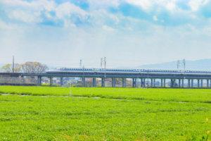 緑の畑と新幹線