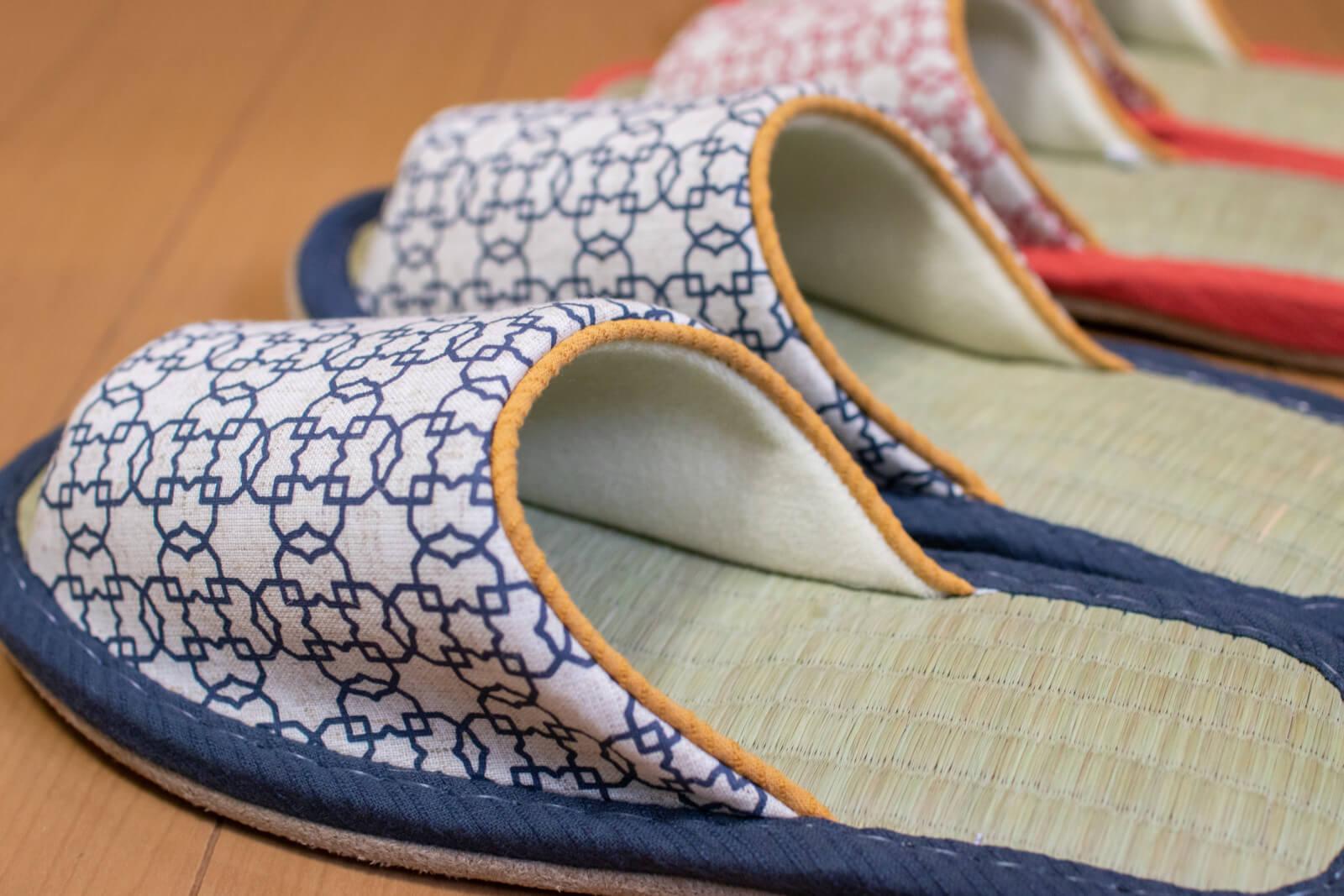 青色の和柄&畳スリッパ
