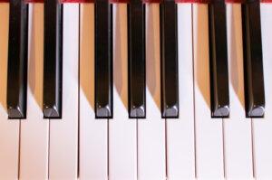 ピアノの鍵盤を真上から